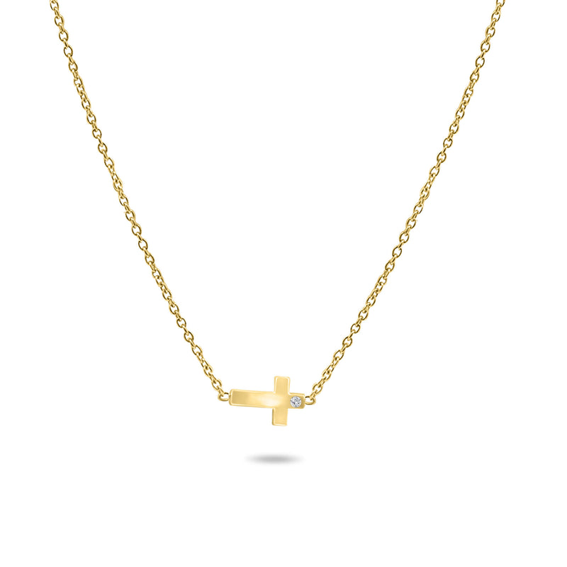 Horizontal Little Cross Necklace in 14K Solid Gold