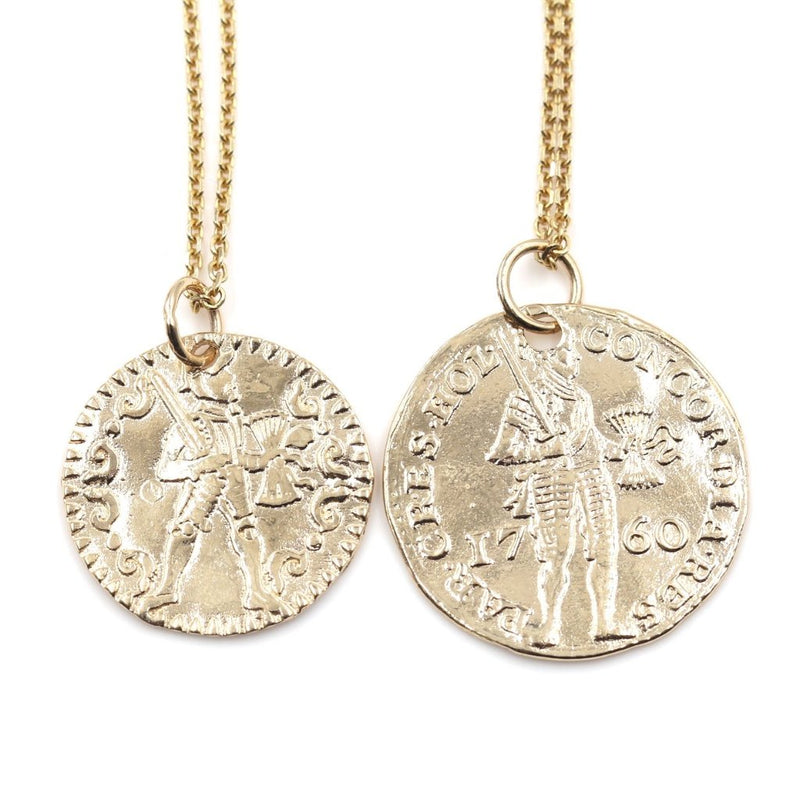 small and large size comparison of the Gold Warrior Coin Necklace