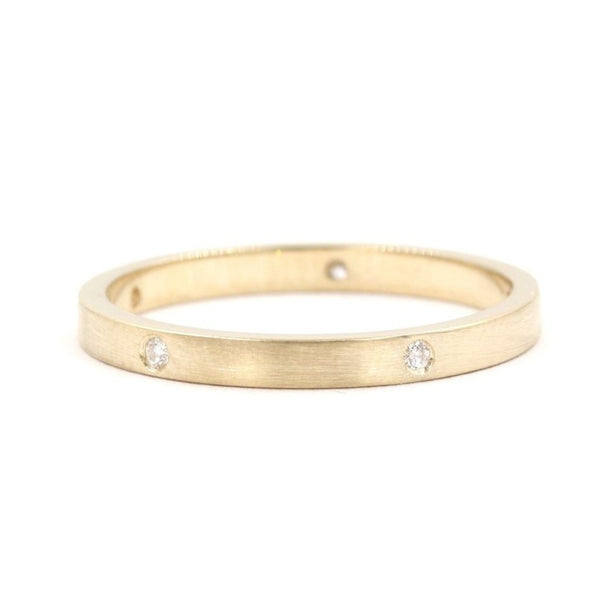 Brushed Satin Stackable Diamond Ring In 14K Gold