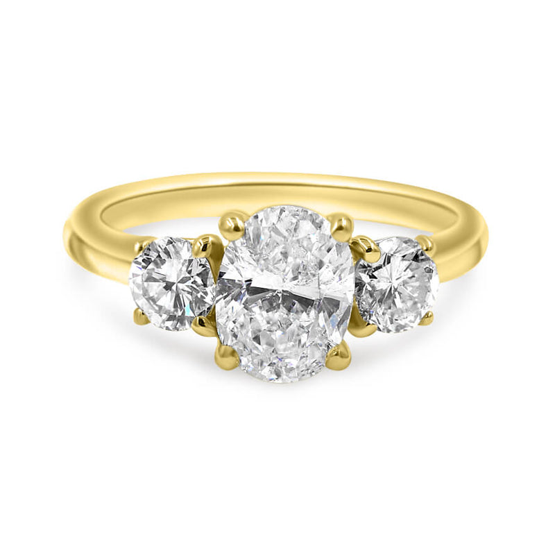 LEILANI | Oval & Round Three Stone Engagement Ring
