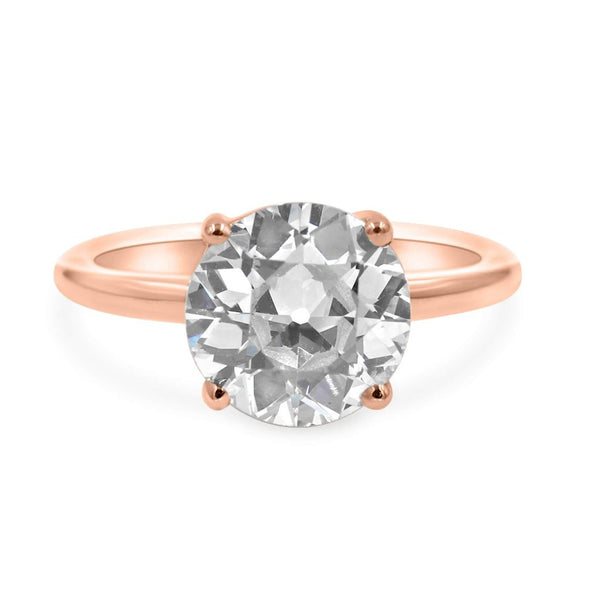 Solitaire ring in 14k rose gold front view