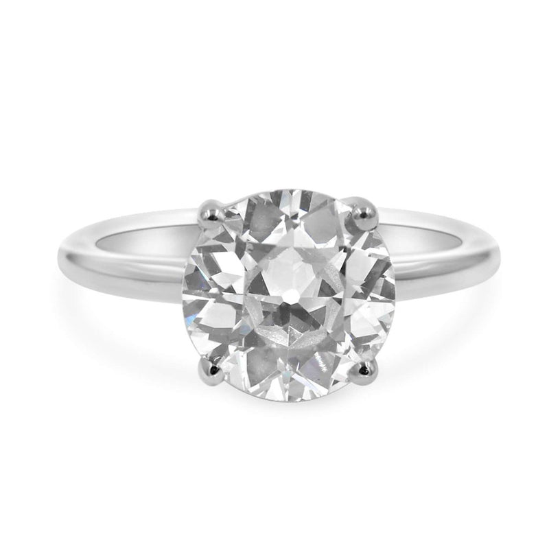Solitaire ring in 14k white gold front view