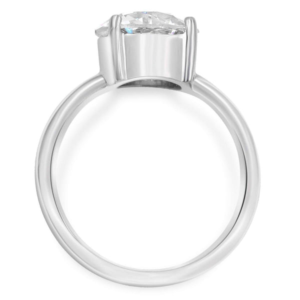 Solitaire ring in 14k white gold side view