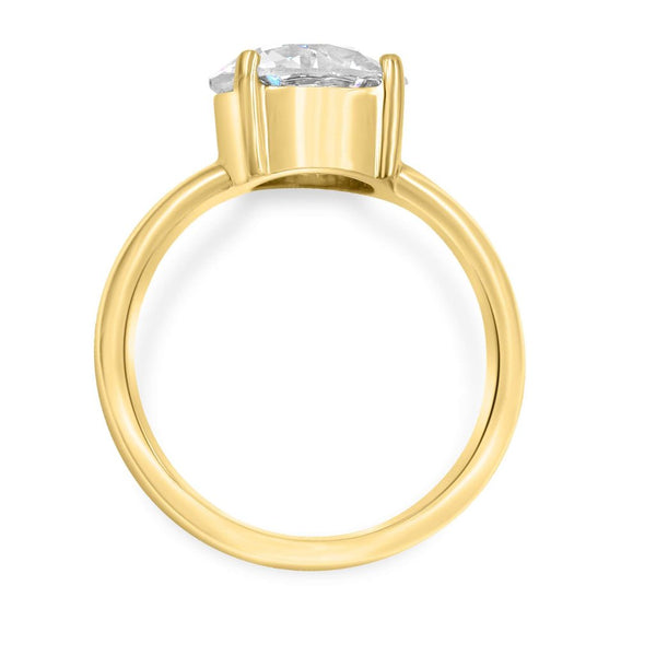 Solitaire ring in 14k yellow gold side view