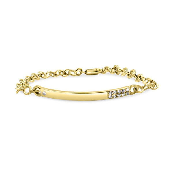 Diamond ID Bracelet In Solid Gold