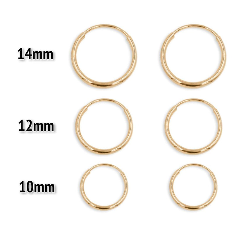 Gold Hoop Earrings size chart