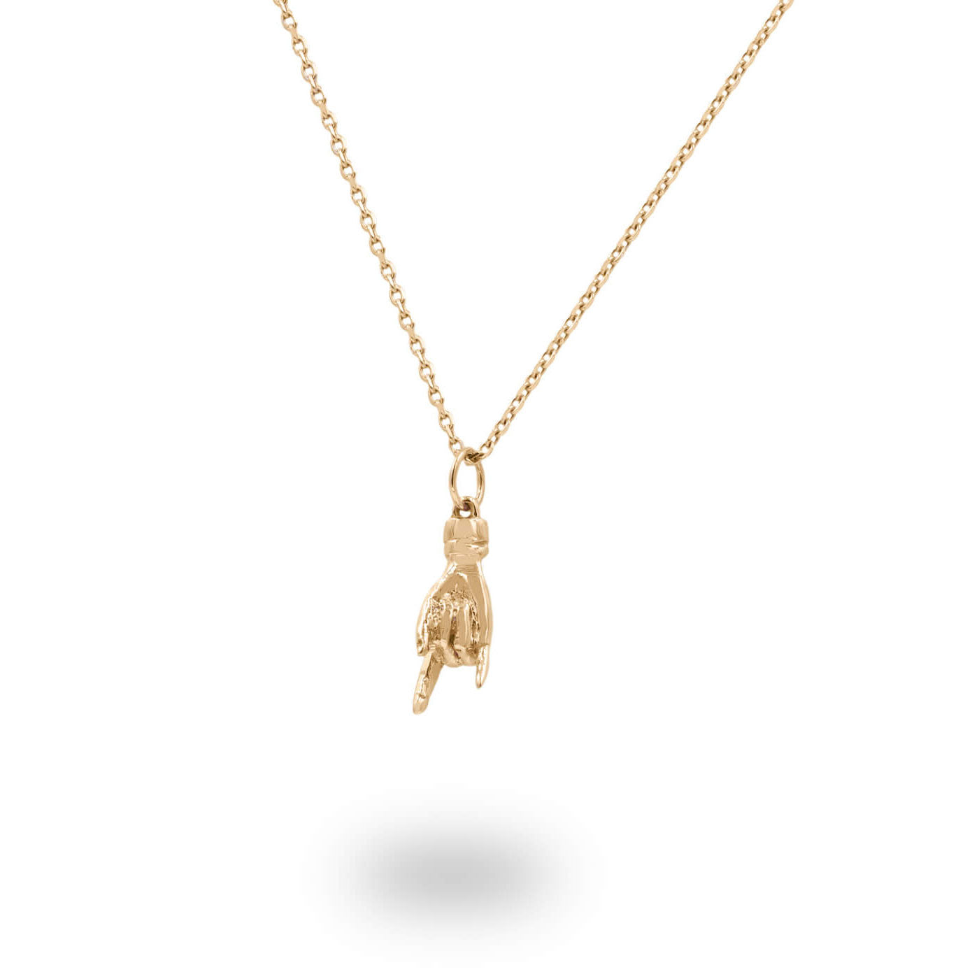 Italian Hand Good Luck Charm Pendant In Solid 14K Yellow Gold