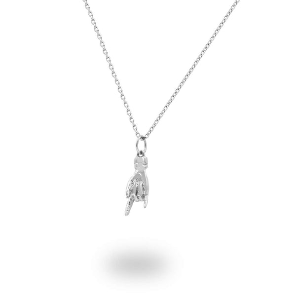 Italian Hand Good Luck Charm Pendant In Solid 14K White Gold