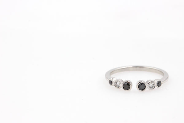 IVY Black & White Diamonds Stackable Ring - 14K White Gold