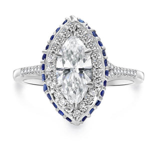 JENNA | Marquee Cathedral In & Out Sapphire Halo Engagement Ring