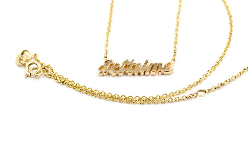Je t'aime Custom Name Necklace in 14K Solid Gold