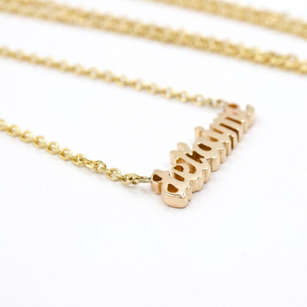 custom gold name necklace 14K yellow gold