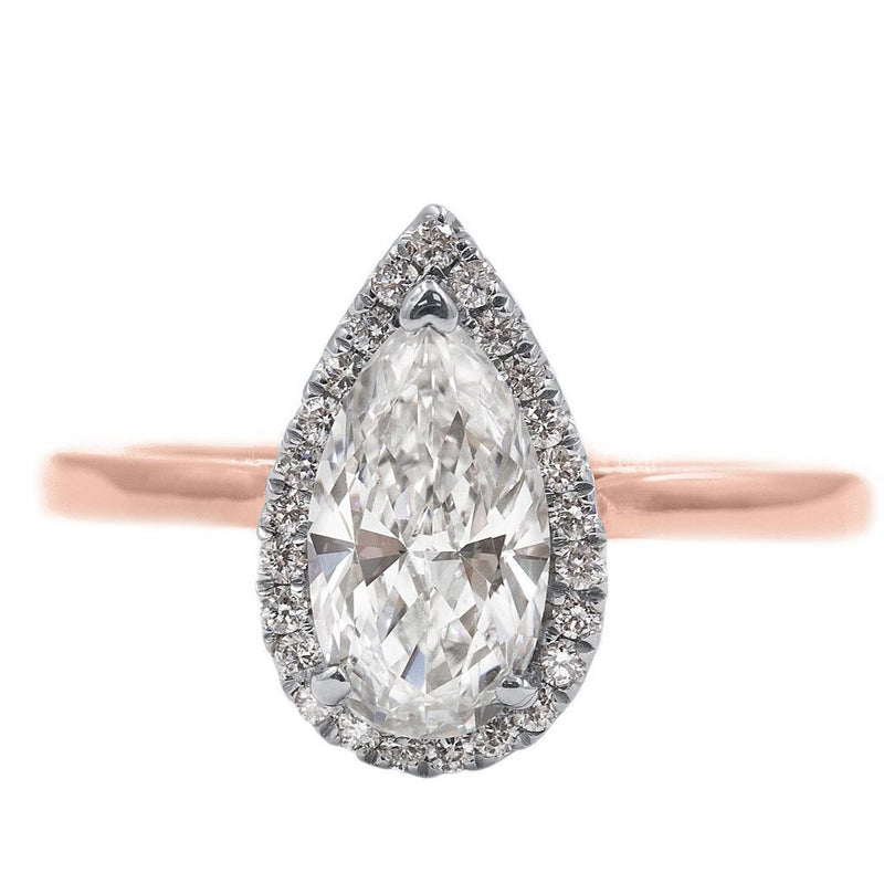 JULIE | Pear Shape Halo Cathedral Solitaire Engagement Ring