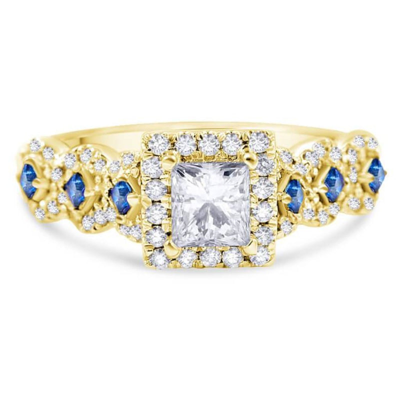 KATIE | Princess Cut Halo Sapphire Engagement Ring