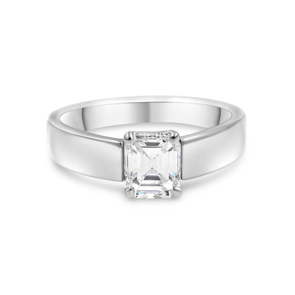 KIM | Emerald Cut Cathedral Wide Solitaire Engagement Ring