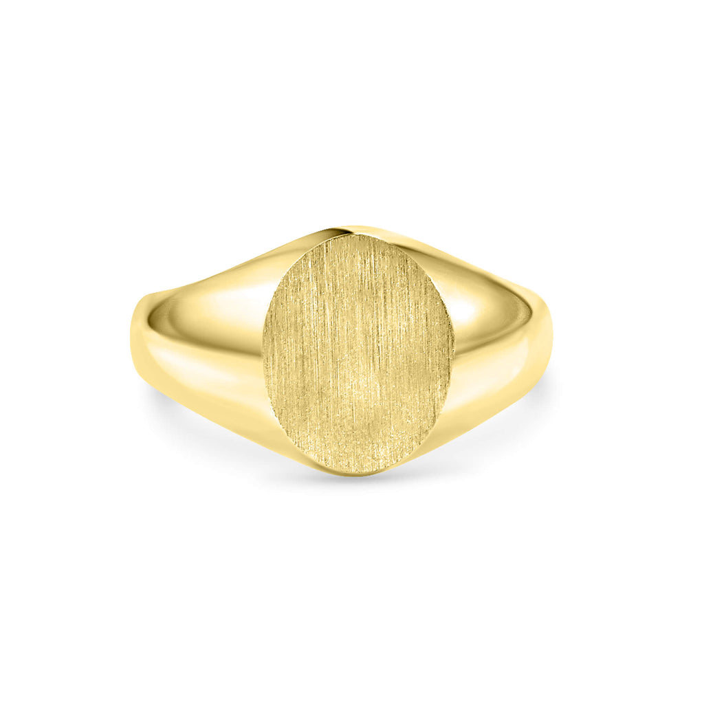 Large Oval Signet Ring 14K Solid Gold
