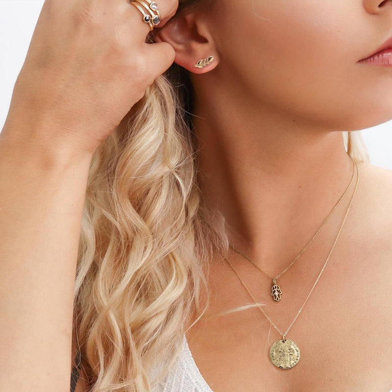 gold coin necklace in yellow gold or gold plated