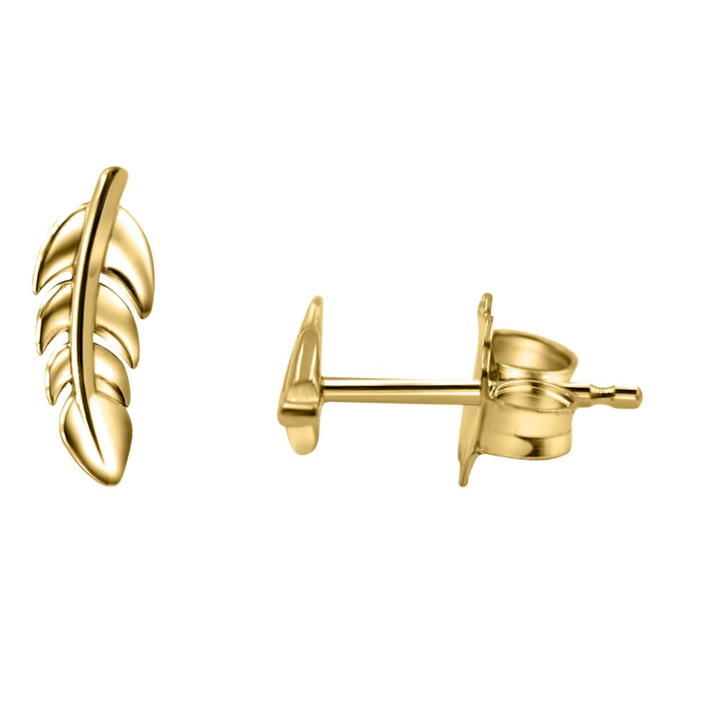 Feather Stud Earrings In 14K Gold