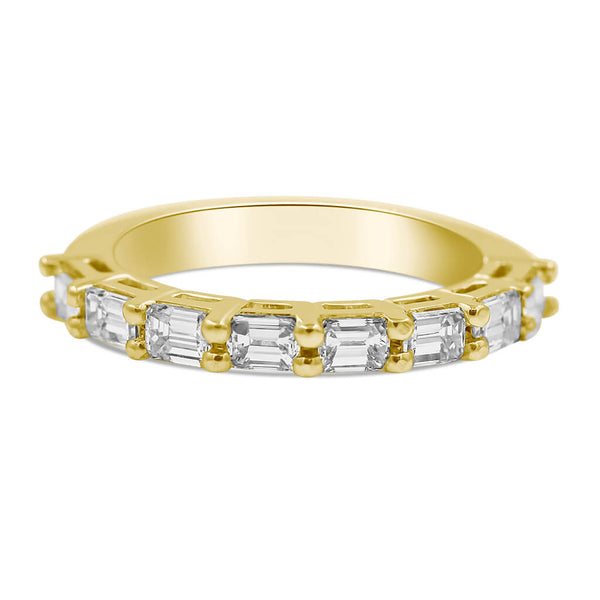 Emerald cut diamond band in 14K yellow gold