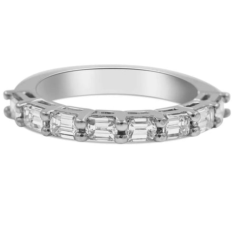 Emerald cut diamond band in 14K white gold