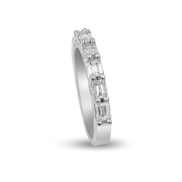 Emerald cut diamond band in 14K white gold side view