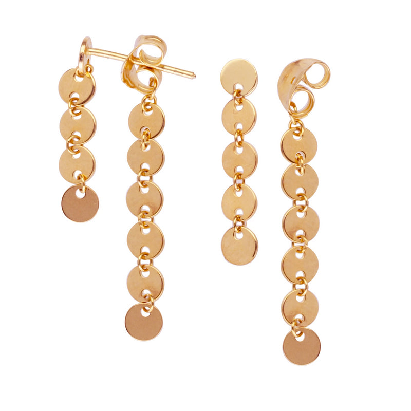Double Disk Drop Earrings