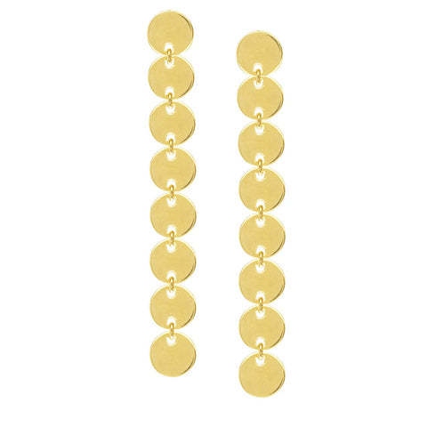 Disk Drop Earrings 14K Gold