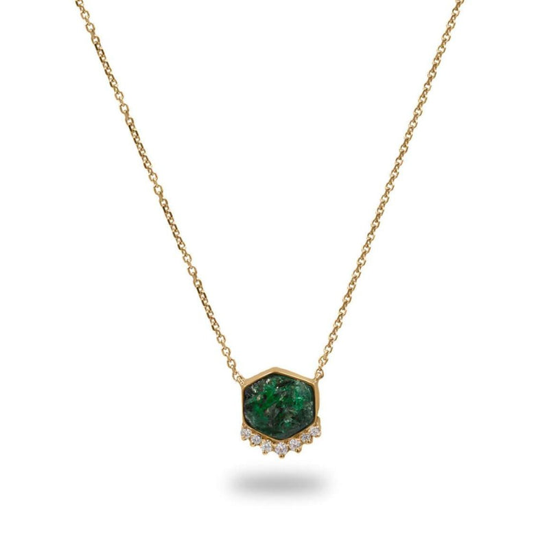 MAGICAL Rough Emerald & Diamonds Pendant Necklace in 14K Solid Yellow Gold
