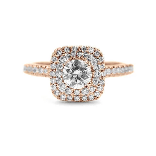 MINDY | Round Double Cushion Halo Cathedral Engagement Ring