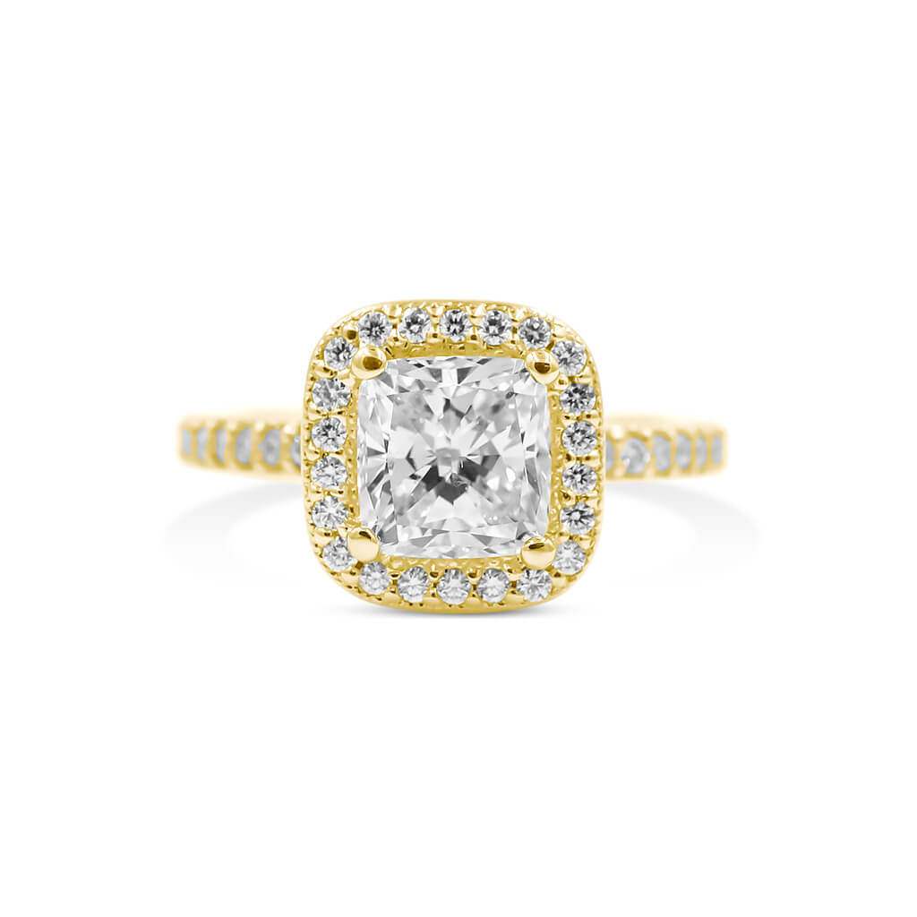 MONIQUE Cushion Halo Diamond Engagement Ring