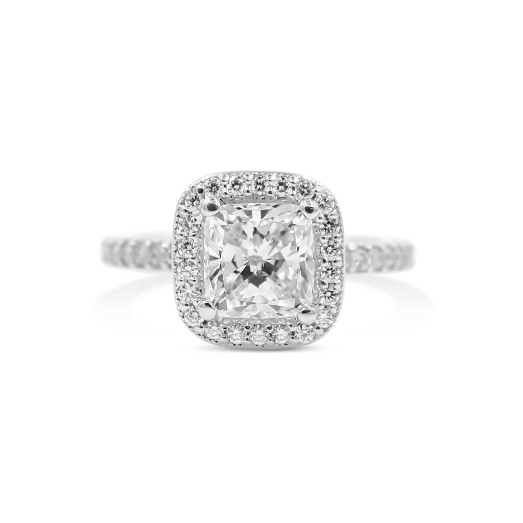 MONIQUE | Cushion Milgrain Halo Engagement Ring