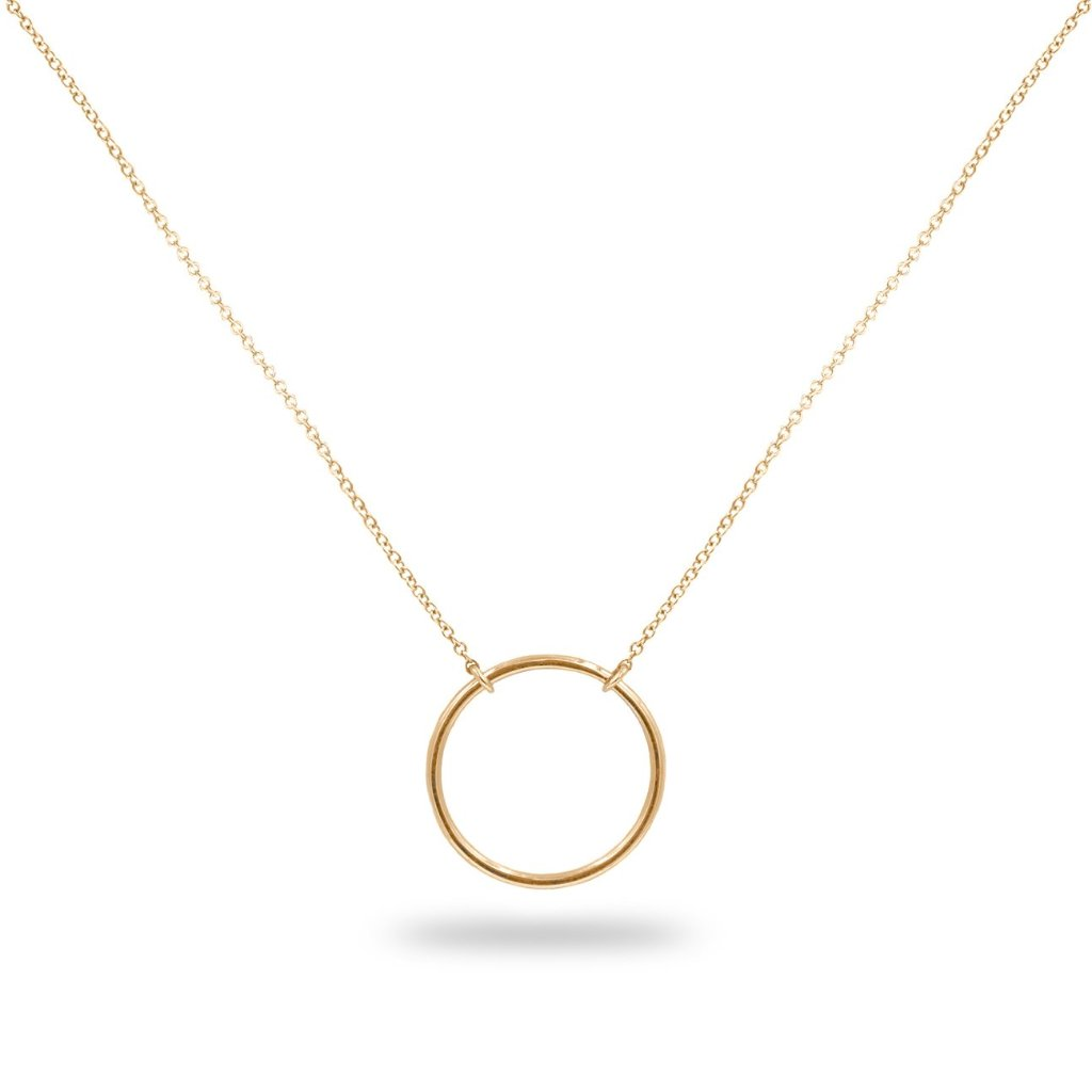 MOONFLOWER Circle Pendant in 14K Solid Gold