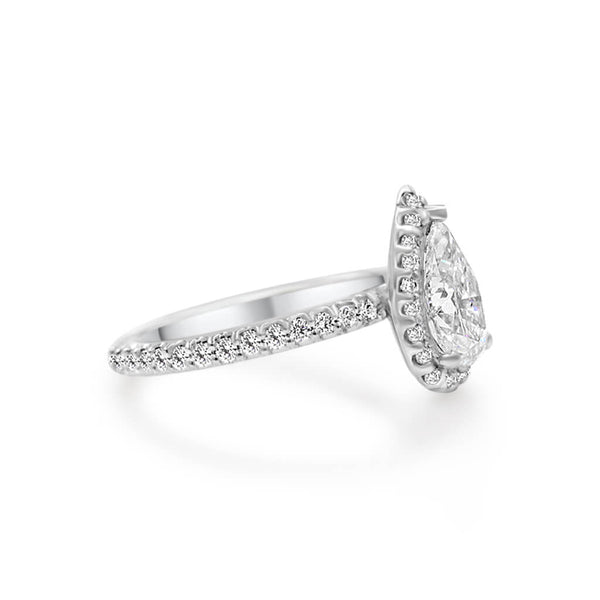 MURSAL | Pear Shape Zero Gap Halo Engagement Ring