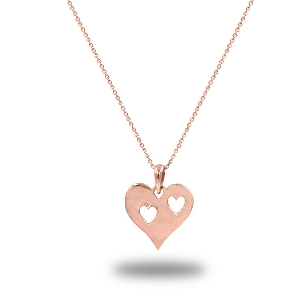 Linaria Pierced Heart Necklace Pendant in 14K Solid Gold