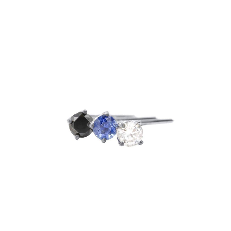 Diamond Nose Ring L shaped In Black Or White Diamond Blue Sapphire 14K White Gold