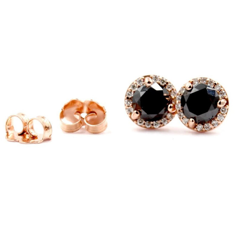 PETUNIA Earrings Black & White Diamond Halo Studs In 14K Rose Gold 1.27TCW