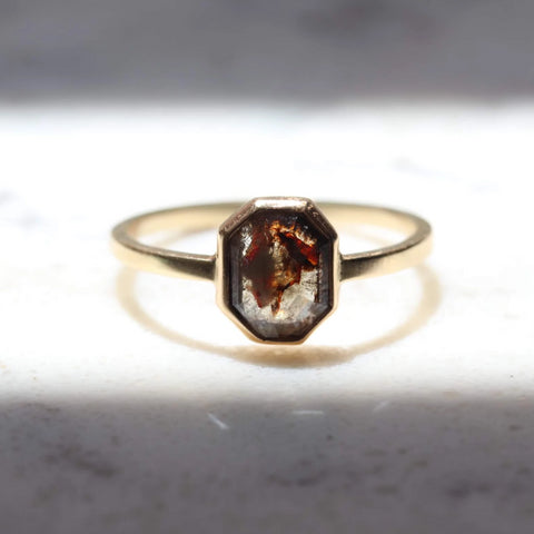 Rustic Geometric Shape Rose Cut Diamond Ring