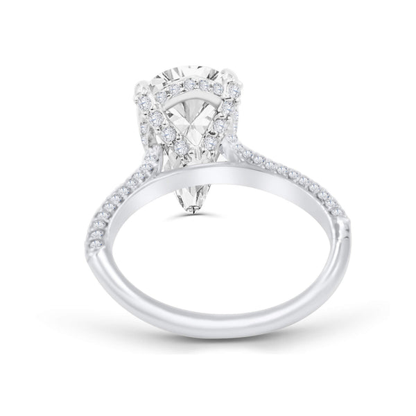 SAHAR | Pear Shape Three Row Pave & Hidden Halo Engagement Ring