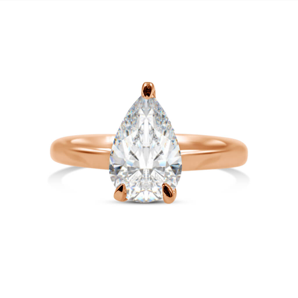 SHAYLE | Pear Shape Hidden Halo Solitaire Engagement Ring