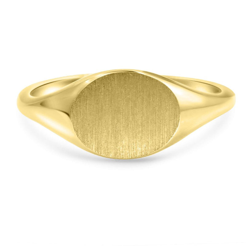 Small Oval Signet Ring In 14K Solid Gold