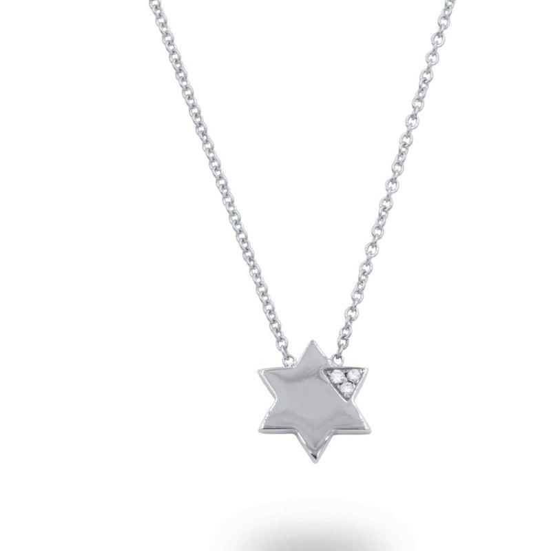 Star Of David Diamond Pendant Necklace In 14K Solid Gold