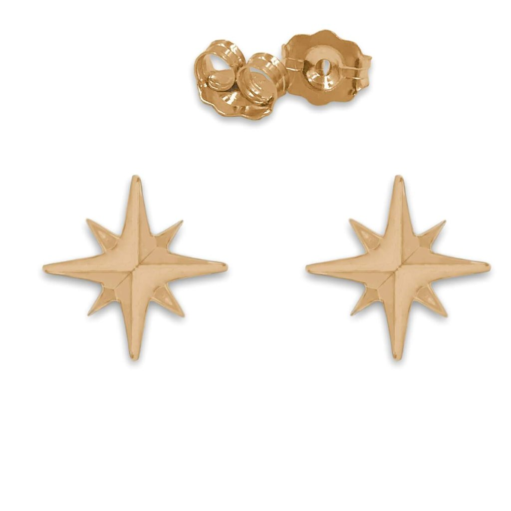 Star Stud Earrings In 14K Gold