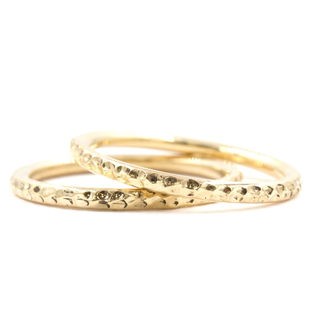 Stonecrop Hammered Midi Pinky Ring In 14K Yellow Gold