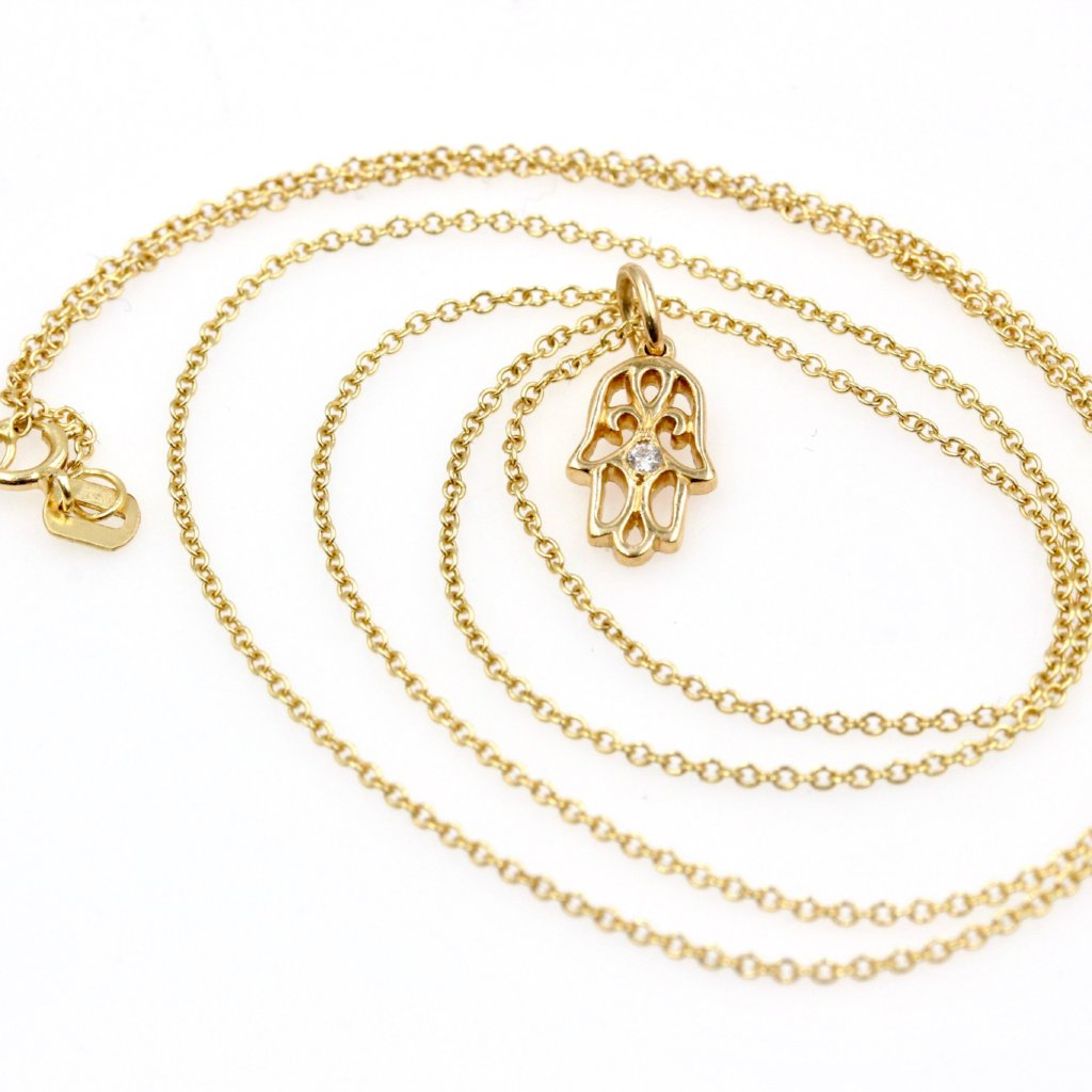 STRENGTH HAMSA Large Diamond Necklace in 14K Solid Gold