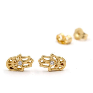 STRENGTH Hamsa Diamond Stud Earrings In 14K Yellow Gold