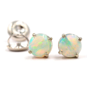 TANSY Opal Studs In 14K White Gold