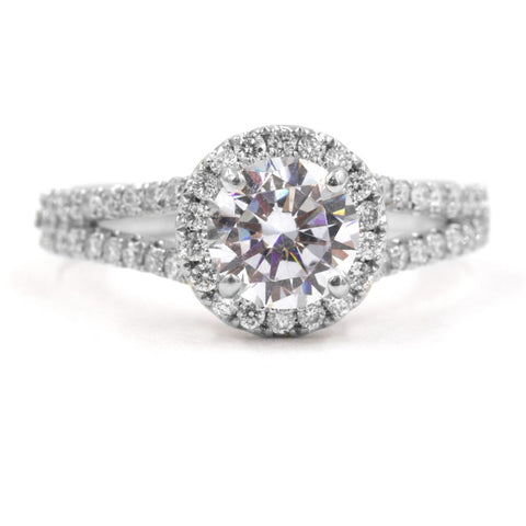 TASHA | Round Halo Split Shank Engagement Ring