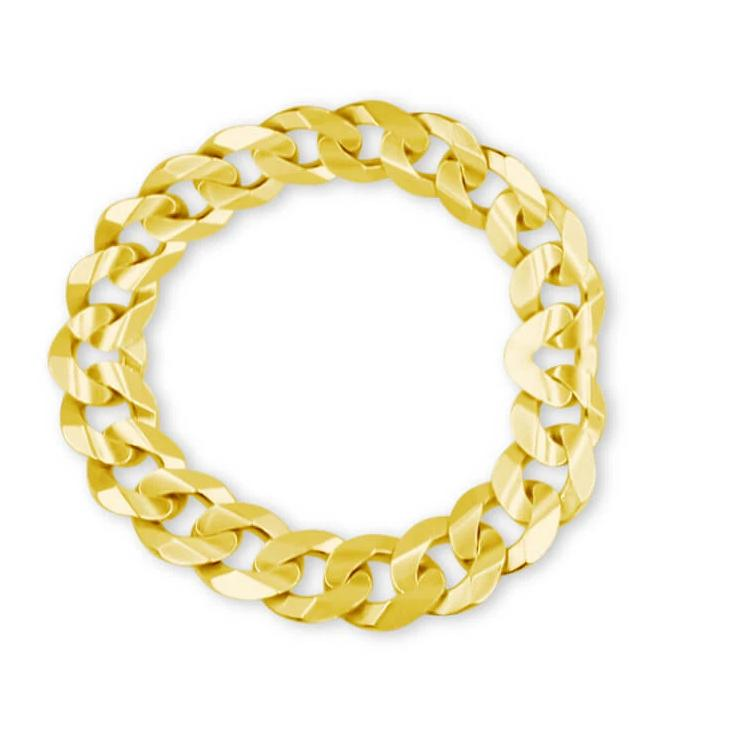Curb Chain Ring 14K Solid Gold