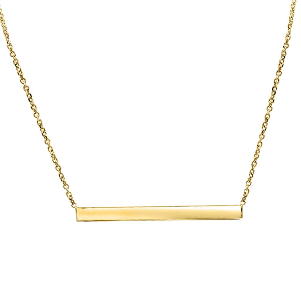 Thin Gold Bar Hand Cut Necklace In 14K Solid Gold