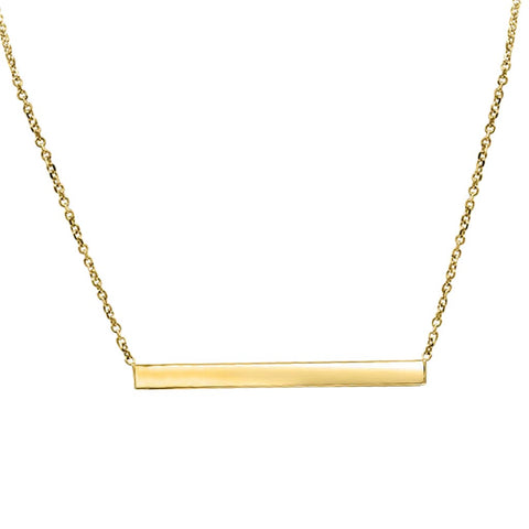 Thin Gold Bar Necklace In 14K Solid Gold
